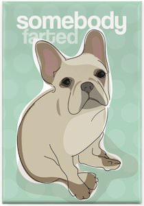 Somebody farted fridge magnet with a dog on it