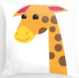 Cartoon Style Giraffe Pillow
