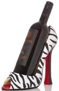 Zebra High Heel Shoe Bottle Holder