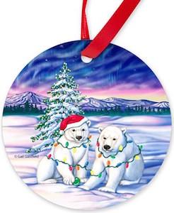 Polar Bears And Northern Lights Christmas Ornament