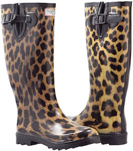leopard print flat wellies boots for women