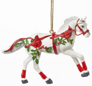 Painted White Horse Christmas Ornament