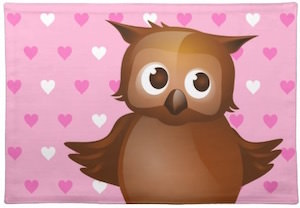 Pink Hearts Owl fabric Placemat