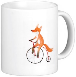 red Fox On A Bike Coffee Mug