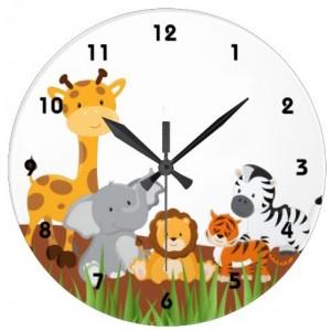 Baby Jungle Animals Round Wall Clock