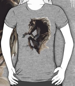 Black Fury Horse T-Shirt For Men And Women