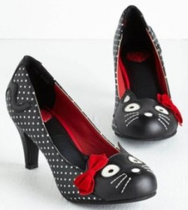 Cat Black And Red High Heel Shoes