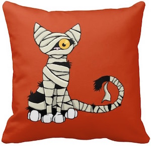 Mummy Cat Halloween Reversible Throw Pillow