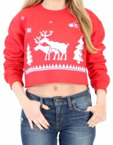 Reindeer Humping Ugly Crop Sweater
