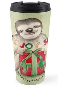 Peace Joy Sloth Christmas Travel Mug