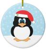 Penguin In Santa Hat Christmas Ornament