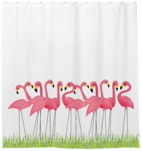 Pink Flamingo Flock Shower Curtain