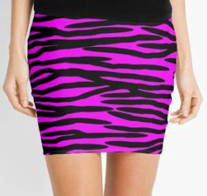 Pink Zebra Stripe Pencil Skirt