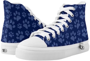 Blue High Top Paw Print Sneakers