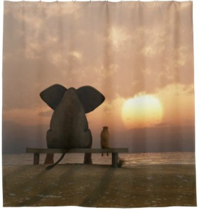 Elephant And Dog Sunset Shower Curtain