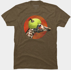 Giraffe Wearing A Helmet T-Shirt