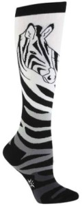 Zebra Print And Head Knee High Socks