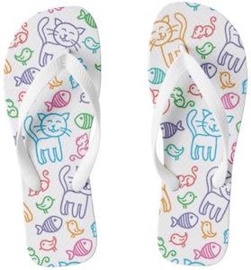Cat Pattern Flip Flops