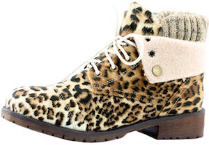 Women's Leopard Print Combat Boots