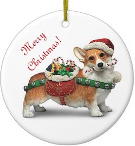Corgi Merry Christmas Ornament