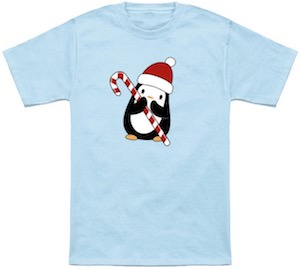 Penguin And A Candy Cane Christmas T-Shirt