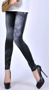 Butterfly Printed Denim Leggings