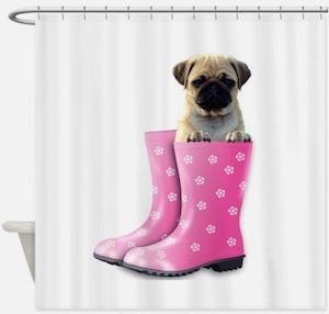 Pug In A Rain Boot Shower Curtain