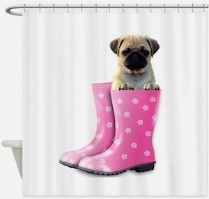 Pug In A Rain Boot Shower Curtain