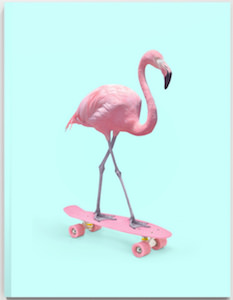 Skateboarding Flamingo Notebook