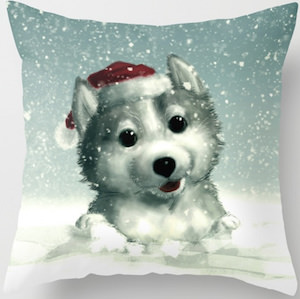 Dog In The Snow Christmas Pillow