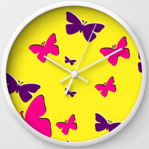 Bright Butterfly Wall Clock