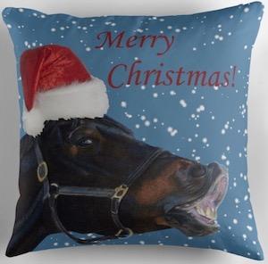 Merry Christmas Horse Pillow