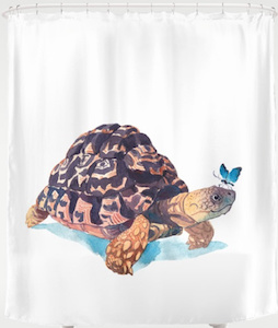 Turtle Meets Butterfly Shower Curtain