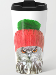 Owl Wearing Winter Hat Travel Mug