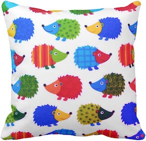 Colorful Hedgehogs Pillow