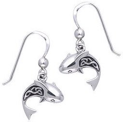 Silver Shark Earrings