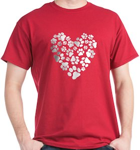 Dog Paws Heart T-Shirt