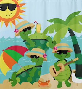 Turtle Beach Party Shower Curtain