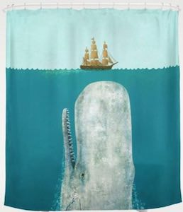 Whale And Ship Shower Curtain