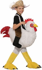 Child Ridding A Chicken Costume