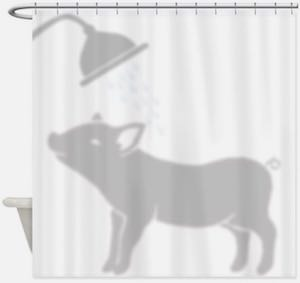 Showering Pig Shower Curtain