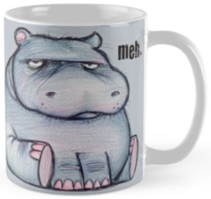 Hippo Grumpy Meh Sketch Mug