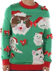 Men's Crazy Cat Christmas Sweater