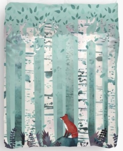 Red Fox In Birches Duvet Cover