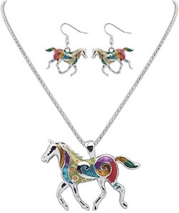 Horse Necklace And Earrings Set