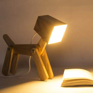 Wooden Dog Shape Lamp