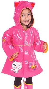 Pink Kitty Cat Girls Rain Coat