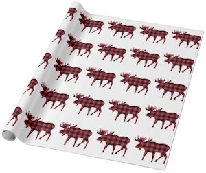 Plaid Moose Wrapping Paper