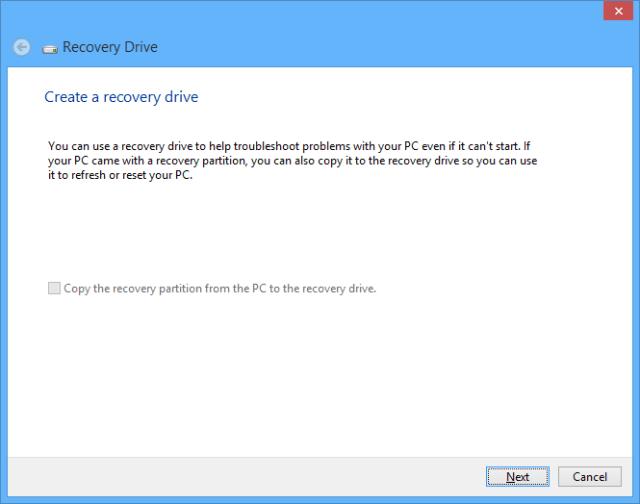 Windows 10 recovery drive - click next