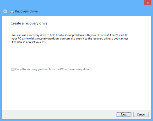 Windows 10 recovery drive - click next